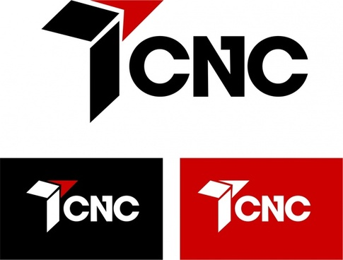 cnc logo sets abstract style and texts design