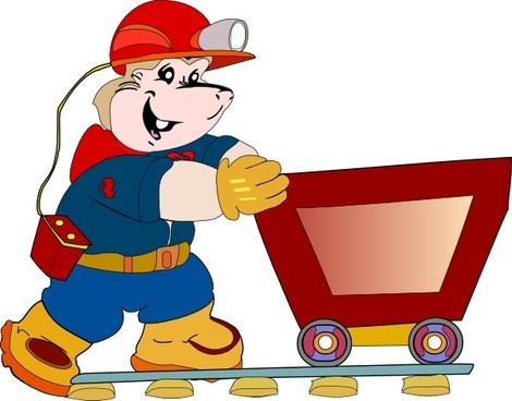 Coal Miner Pushing Cart clip art
