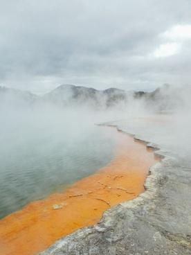 coast daytime eruption fog geyser hot hot spring