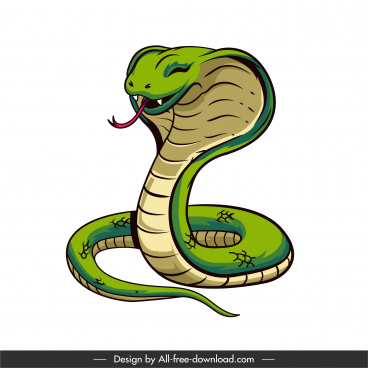 cobra icon funny cartoon character sketch colored handdrawn