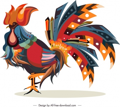 cock animal icon colorful feathers decor