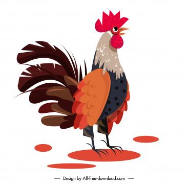 cock icon colorful classic sketch cartoon design