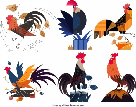 cock icons collection colorful classical design