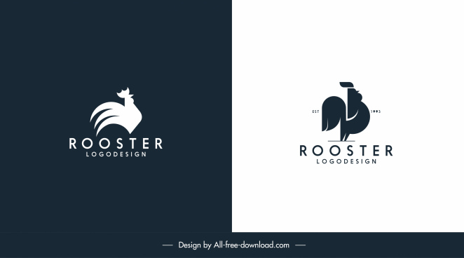 cock logo templates black white flat sketch