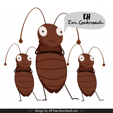 cockroach banner template funny cartoon characters sketch