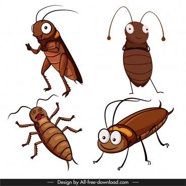 cockroach icon funny cute cartoon sketch