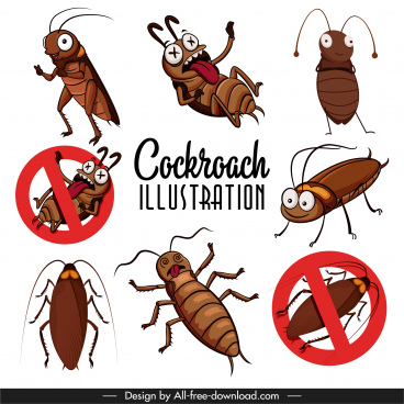 cockroach icons funny cartoon sketch