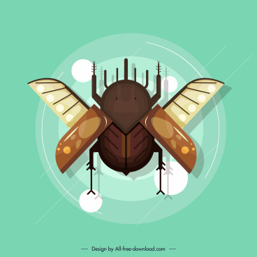 cockroach insect icon colored flat design