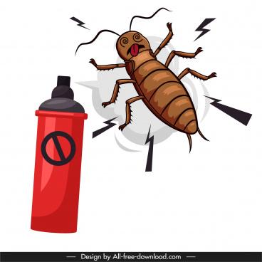 cockroach killing banner handdrawn cartoon sketch