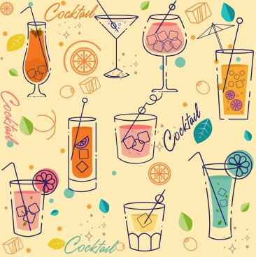 cocktail backdrop glass icons classical flat decoration