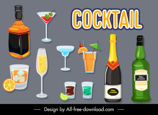 cocktail beverages icons bottles glasses cups sketch