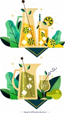 cocktail drink background template melon avocado icons