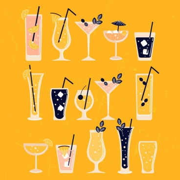cocktail glass icons collection colored flat classical design