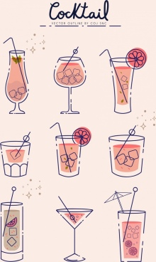 cocktail glass icons collection handdrawn outline