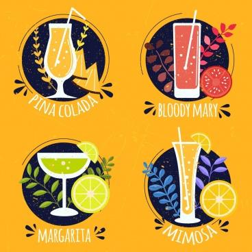 cocktail labels collection multicolored vintage decor