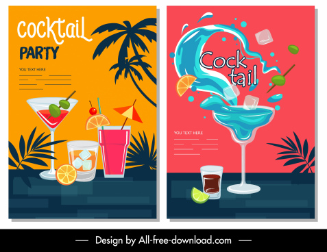 cocktail party banners colorful classical dynamic decor