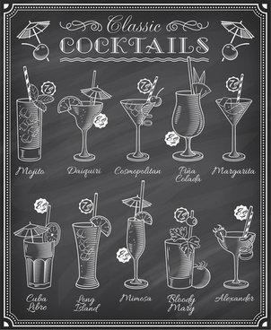 cocktails menu illustration vctor