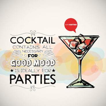 cocktails parties hand drawing poster vector