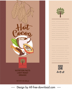 cocoa package template colored retro decor