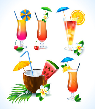 coconut and cocktails vector graphics