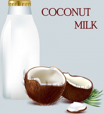 coconut milk promotion banner bright colored ornament
