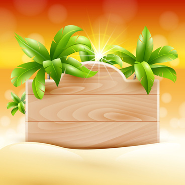 coconut tree and wooden boards vector