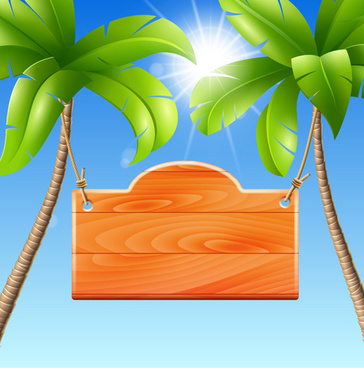 coconut tree with billboard vector