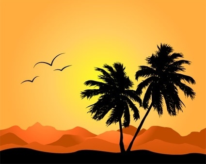 coconut trees and mountain silhouette vector again and again