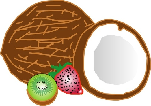 Coconuts Kiwi Strawberry clip art
