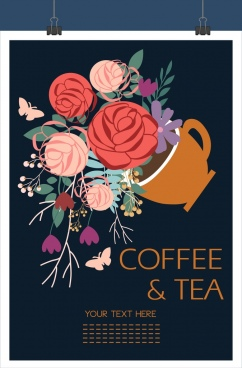 coffe tea background colorful flowers decoration cup icon
