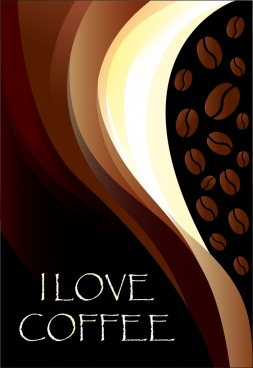 coffee ad background brown curves decoration beans icons