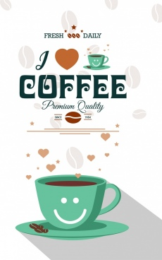coffee advertisement cup hearts icon beans vignette decor