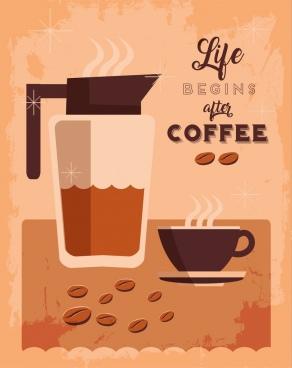 coffee advertisement cup pot icon grunge retro design