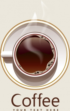 coffee advertisement hot cup icon upper view design