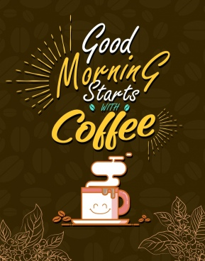 coffee advertisement stylized cup texts decor bean backdrop