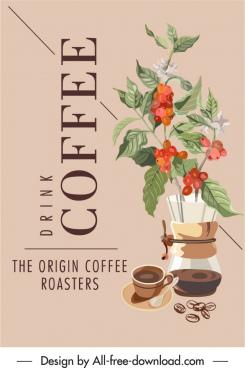 coffee advertising background texts floras decor elegant classic
