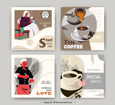 coffee advertising banner colored retro design