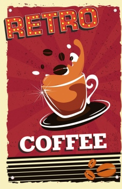 coffee advertising banner cup bean icons retro design