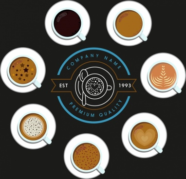 coffee advertising banner logo cups decor contrast design