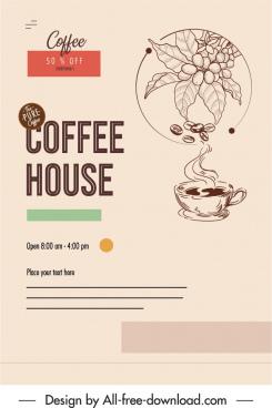 coffee advertising banner retro design cup bean sketch