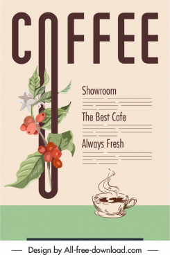 coffee advertising banner texts botany plants decor