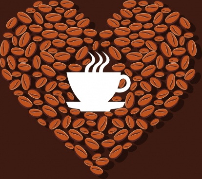 coffee advertising cup silhouette bean icons heart layout