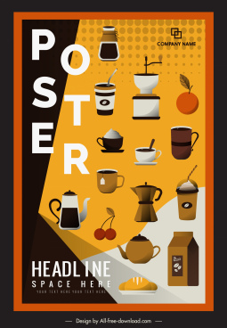 coffee advertising poster colorful classic flat objects decor