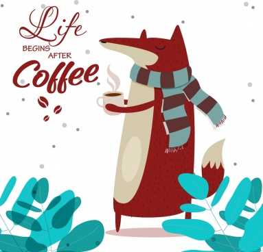 coffee advertising stylized fox icon funny cartoon design