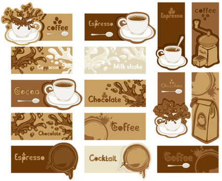 coffee and chocolate elements cards vector