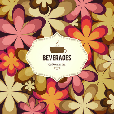 coffee and tea floral menu cover vector