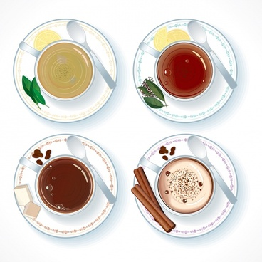 coffee tea cups icons colored flat modern design
