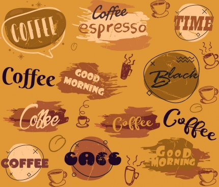 coffee backdrop calligraphic decor vintage design