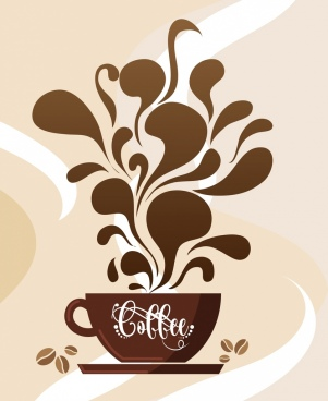 coffee background brown cup splash liquid decoration