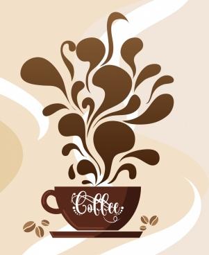 coffee background brown cup splash liquid decoration
